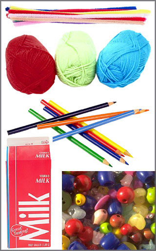 Fun activities for kids: Lots of craft materials such as yarn, crayons, beads, pipe cleaners etc.