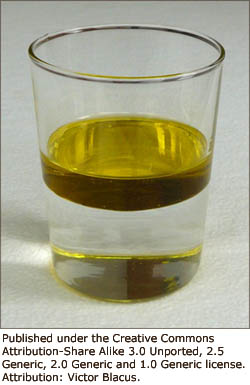 Fun science games for kids: A glass with water and oil at the top.