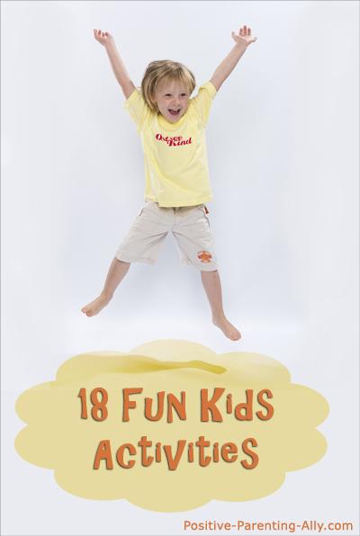 A list of 18 fun kids activities: fun indoor games and outdoor games for kids.