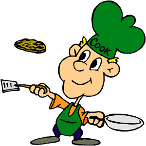 Elementary math games: double the pancake recipe. Cartoon man making pancakes.
