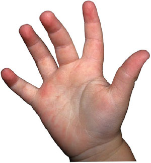 Elementary math games: counting with fingers - picture of child hand