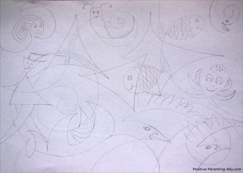Funny abstract figurative mix drawing for kids.