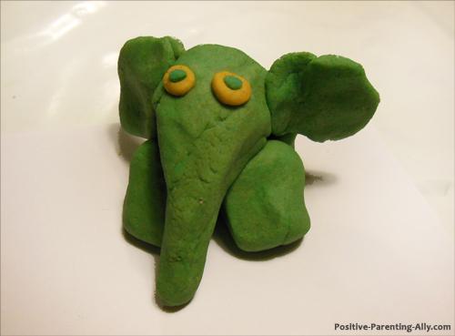 Cute green play doh elephant.