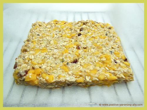 Healthy banana mango snack cake ready to go in oven.