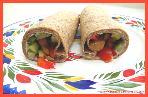 Chicken tortilla with cream cheese as a healthy kids snack.