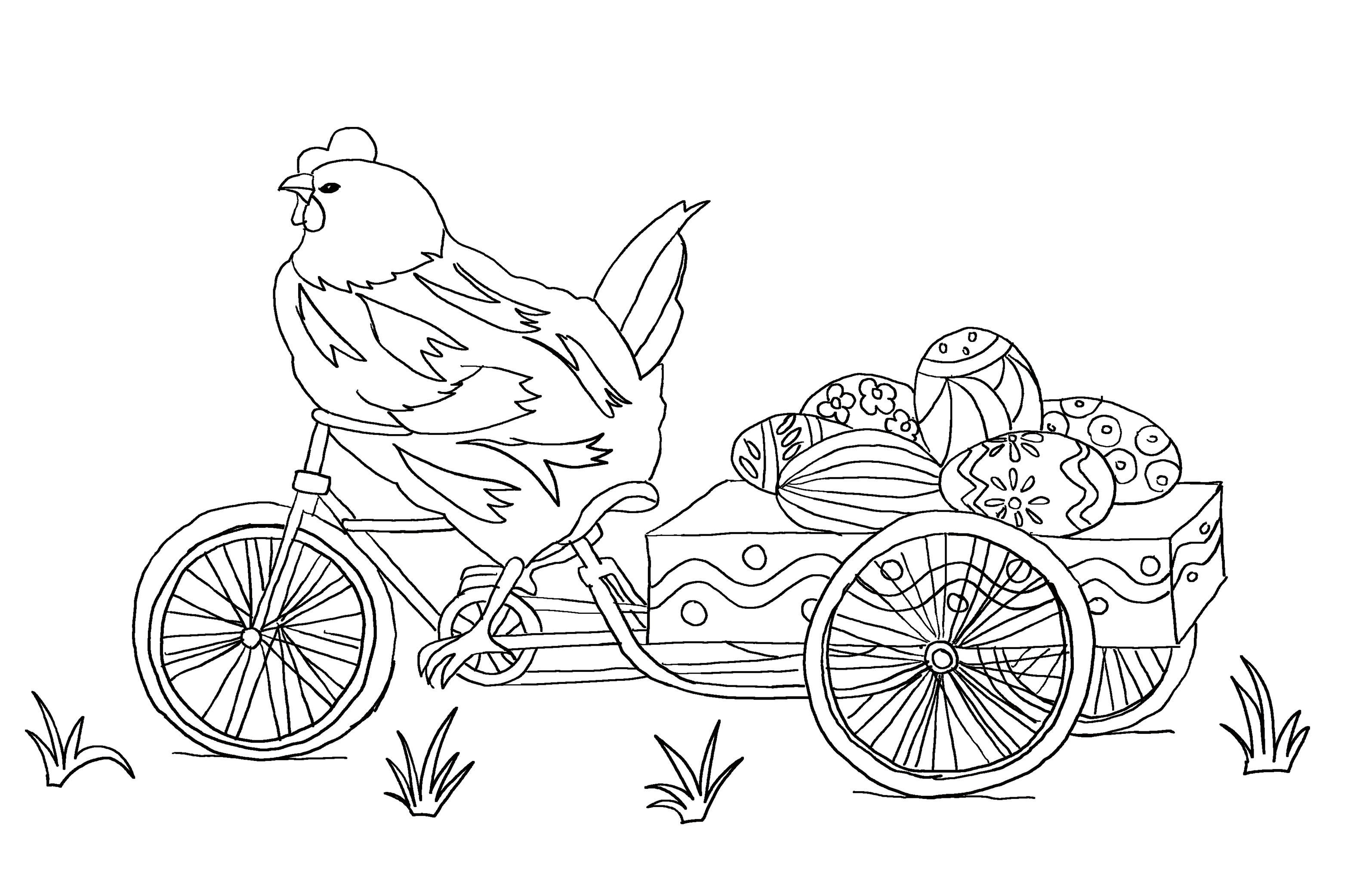 Mother hen on a bicycle with Easter eggs. Coloring page for kids.