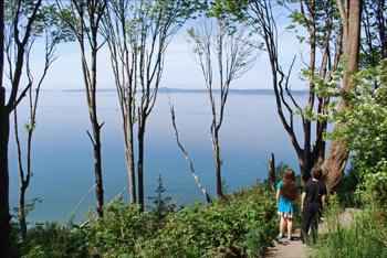 Fun hiking with kids. Beautiful view of the sea.