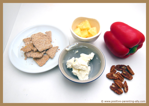Ingredients for whole grain cracker dip: Cream cheese, pecan nuts, bell pepper, pineapple.