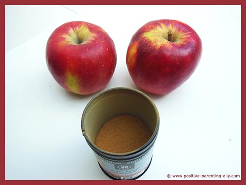 Ingredients for apple cinnamon chips.
