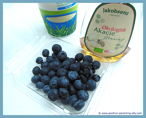Ingredients for delicious frozen healthy snacks for kids with blueberries and yoghurt