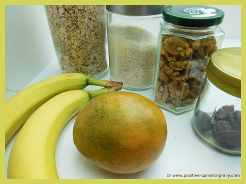 Ingredients for healthy no sugar banana snack cake.