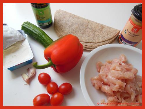 Ingredients for healthy chicken wrap tortilla.