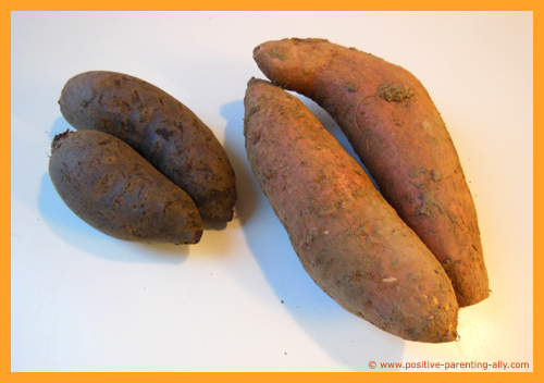 Using sweet potatoes and beetroot for chips.