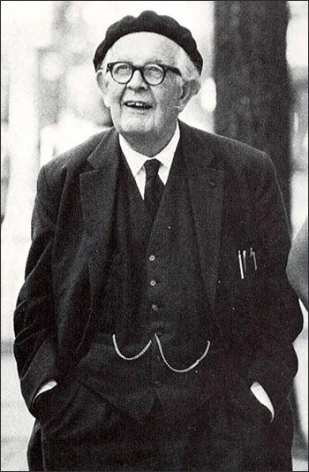 Full figure portrait of Jean Piaget