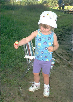 The pre-operational stage: Little girl fishing