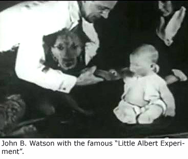 "John B Watson conducting the lab experiment ""Little Albert Experiement""."