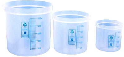 Three different sizes of measuring cups to fill containers.