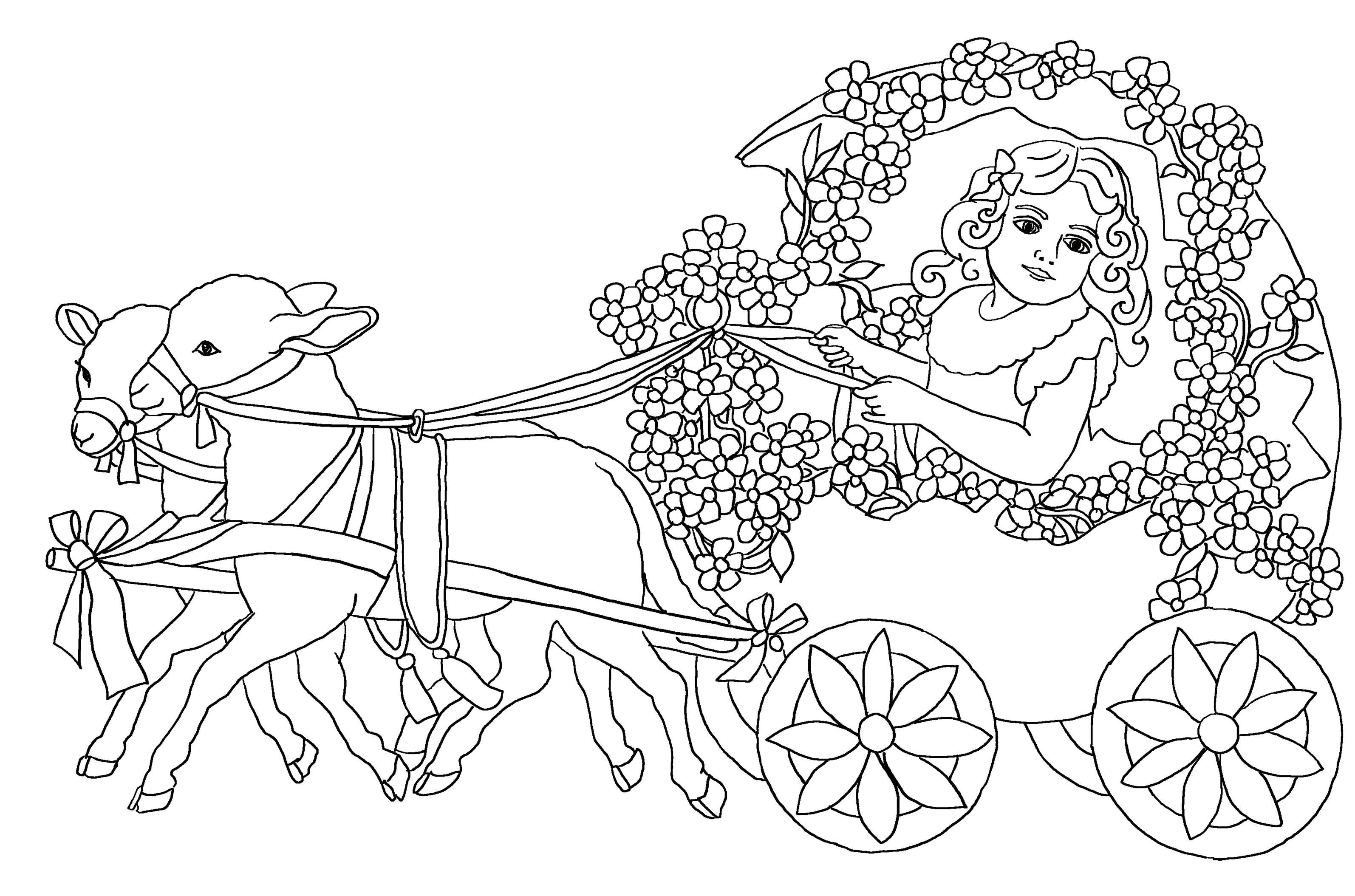 Two cute lambs pulling an egg cart with little girl. Cute Easter coloring page.