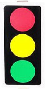 Red light, green light is a great outdoors learning game for kids: Picture of a traffic light.