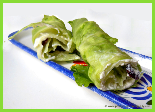 Healthy kids snacks: The lettuce roll cut in half so you can see the cream cheese stuffing