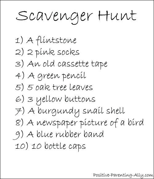 List of 10 things to look for in a scavenger hunt for kids.