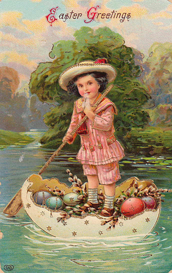 Cute old Easter card to print with little boy on a boat with Easter eggs.