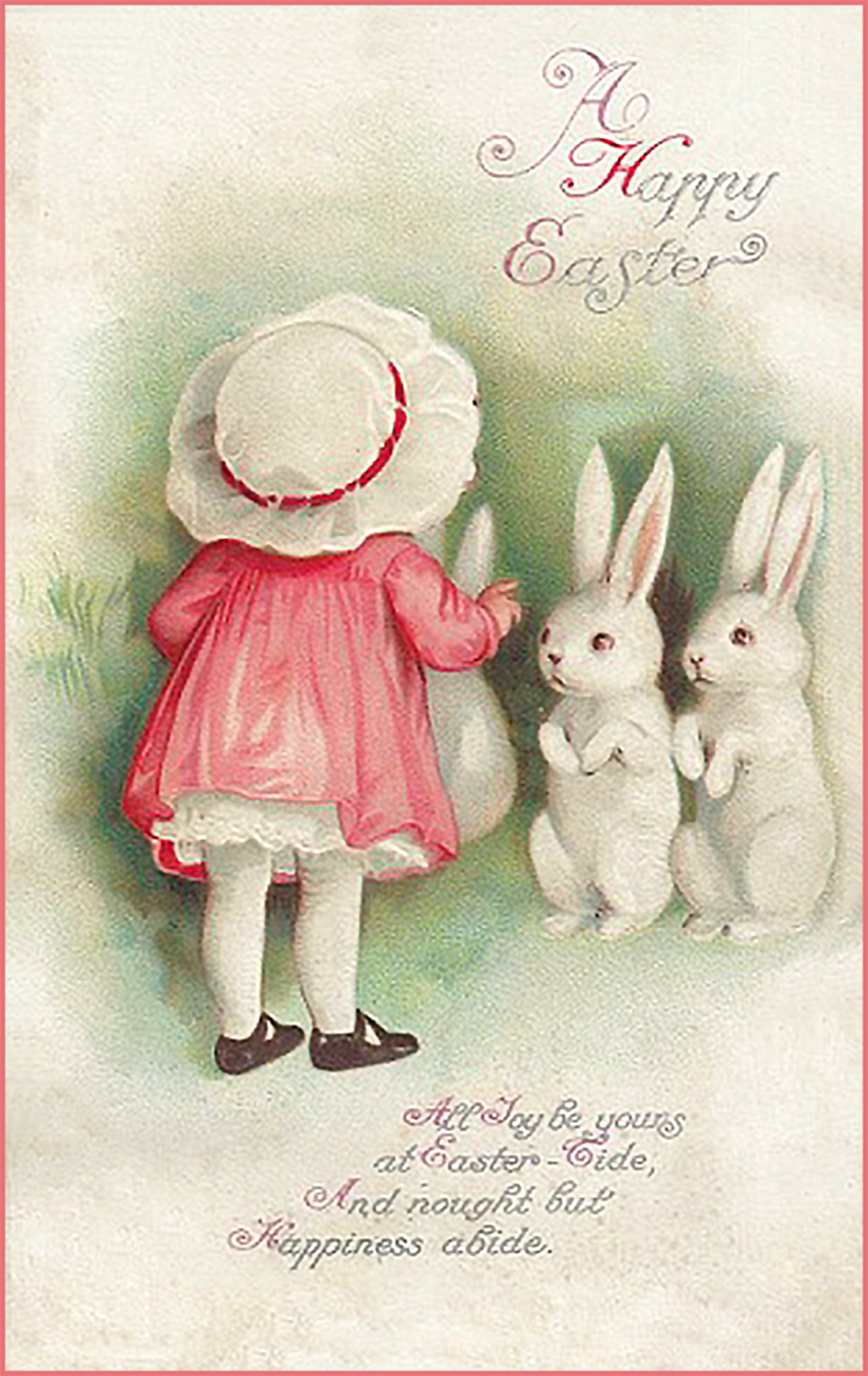 Cute old Easter postcard with little girl and bunnies.