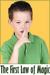 Keeping your magic tricks a secret. Boy hushing!