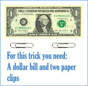 The dollar bill and two clips magic trick.