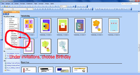 How to make your own birthday invitations in Microsoft Publisher: step 2: Find the Invitation Cards option.