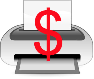 Printing is not cheap in large quantities: Picture of a printer with a dollar sign