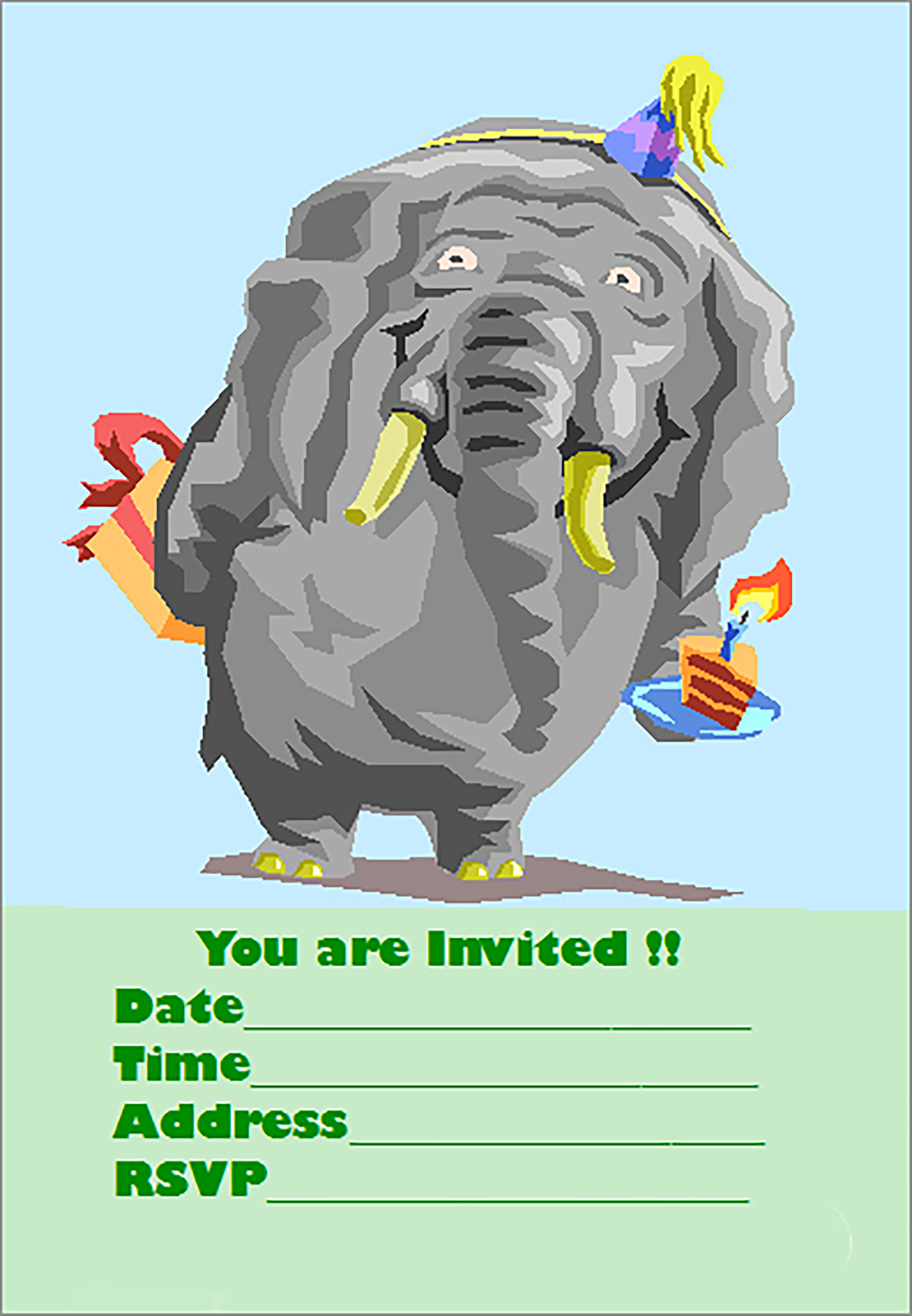 Example of free printable birthday party invitations template: Cute elefant with hat, gift and a cake with a candle in.