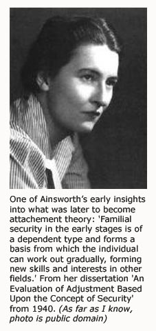 Portrait of developmental psycholgist Mary Ainsworth - the refiner of attachment theory