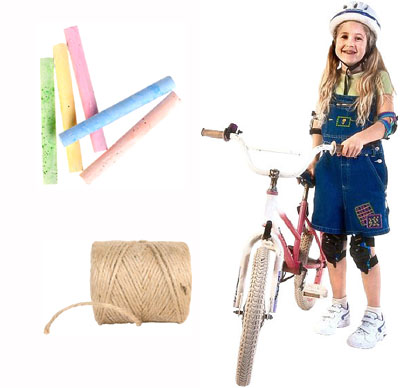 Fun math activities: preteen girl on a bike, chalk and string.