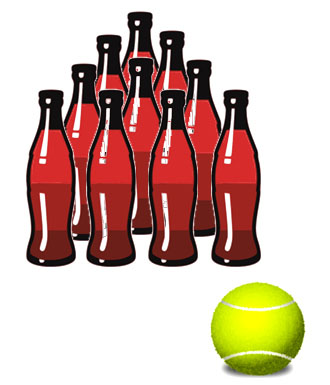 Fun math games for kids: pin bowling with soda bottles and a tennis ball.