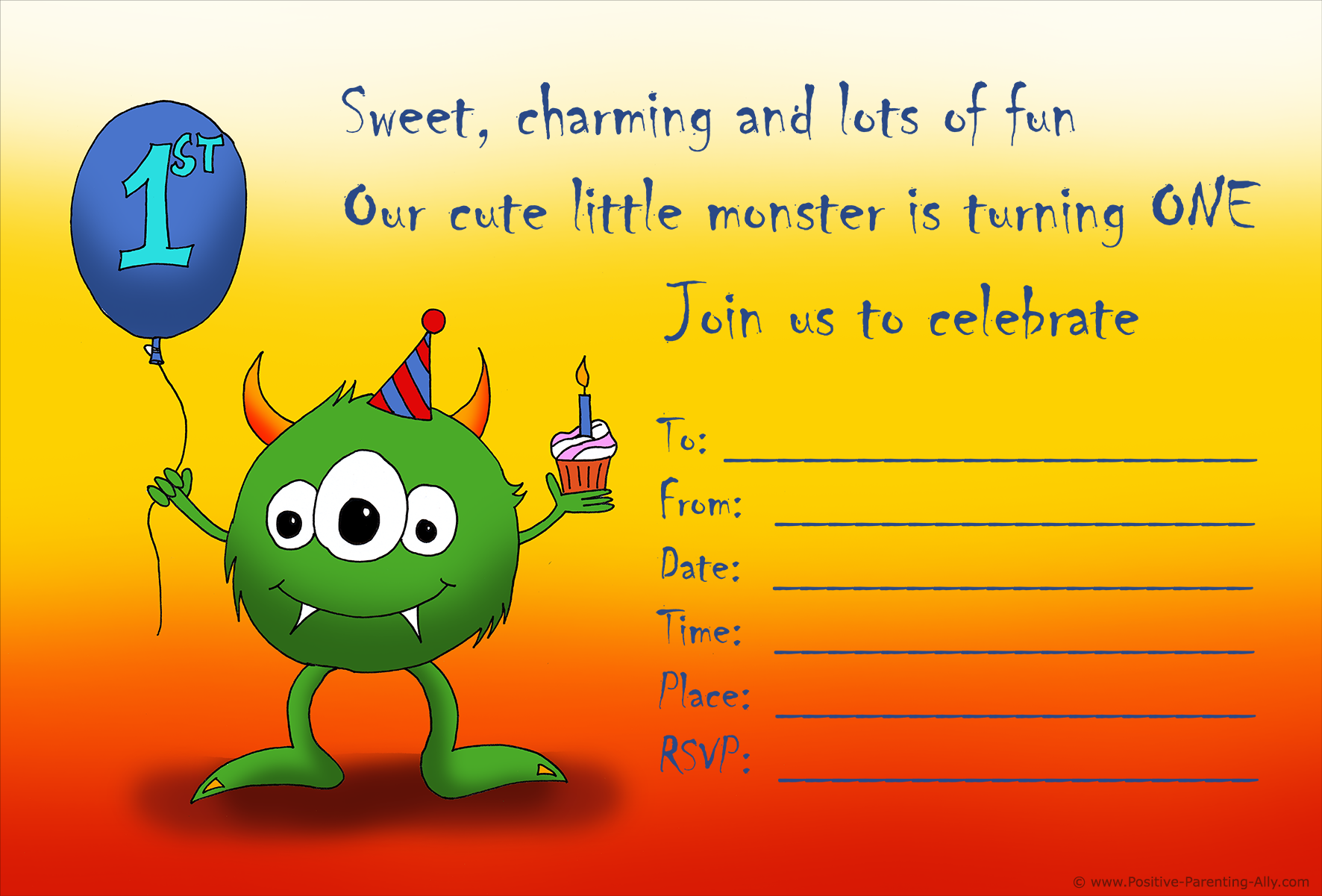 Cute monster birthday invitation to print. Celebrating the first birthday.