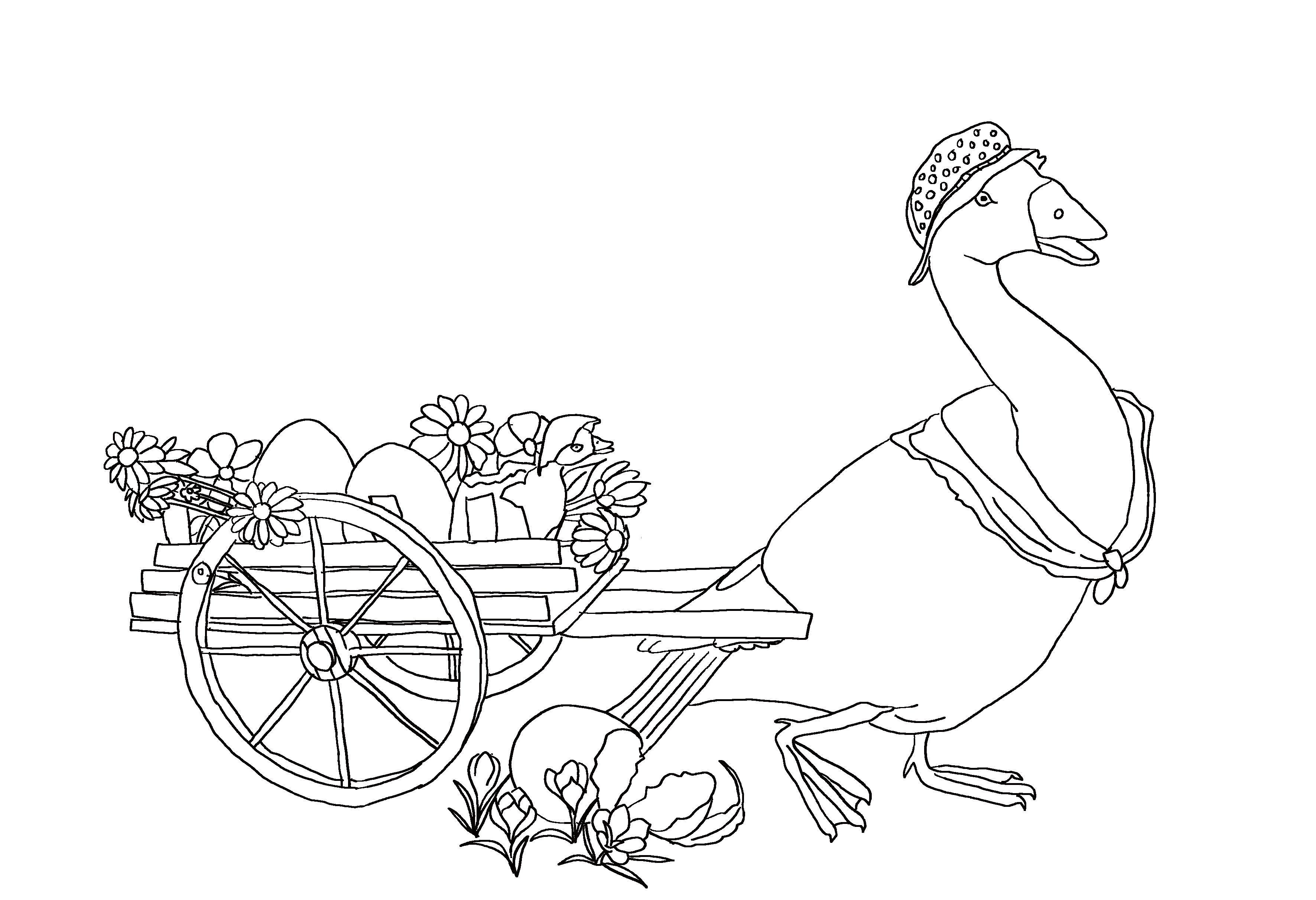 Easter coloring page with Mother goose pulling a cart with Easter eggs.