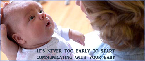 Supporting your baby's development by talking and having eye contact.