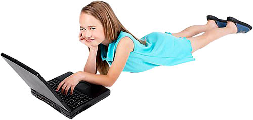There are lots of free multiplication math games online: Girl with laptop.