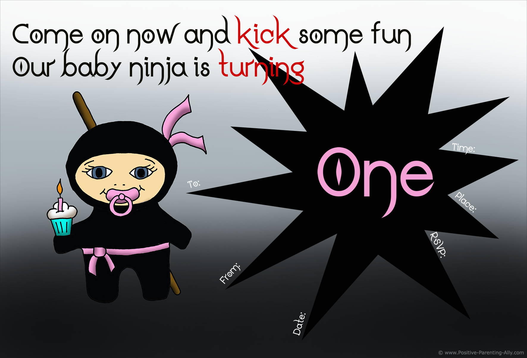Pink and black ninja girl on first birthday invitation.