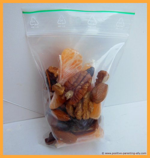 Mix of nuts as healthy foods for kids on the go.