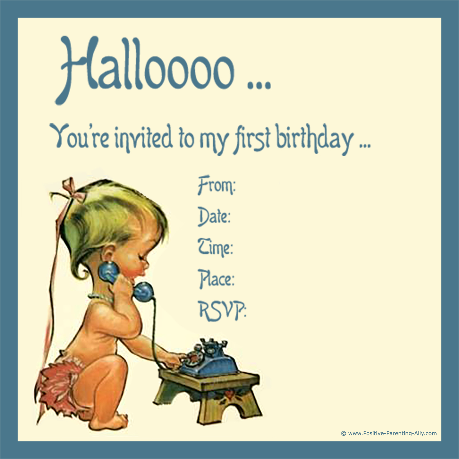 Old vintage 1st birthday invitation to print with the custest little baby on the phone.