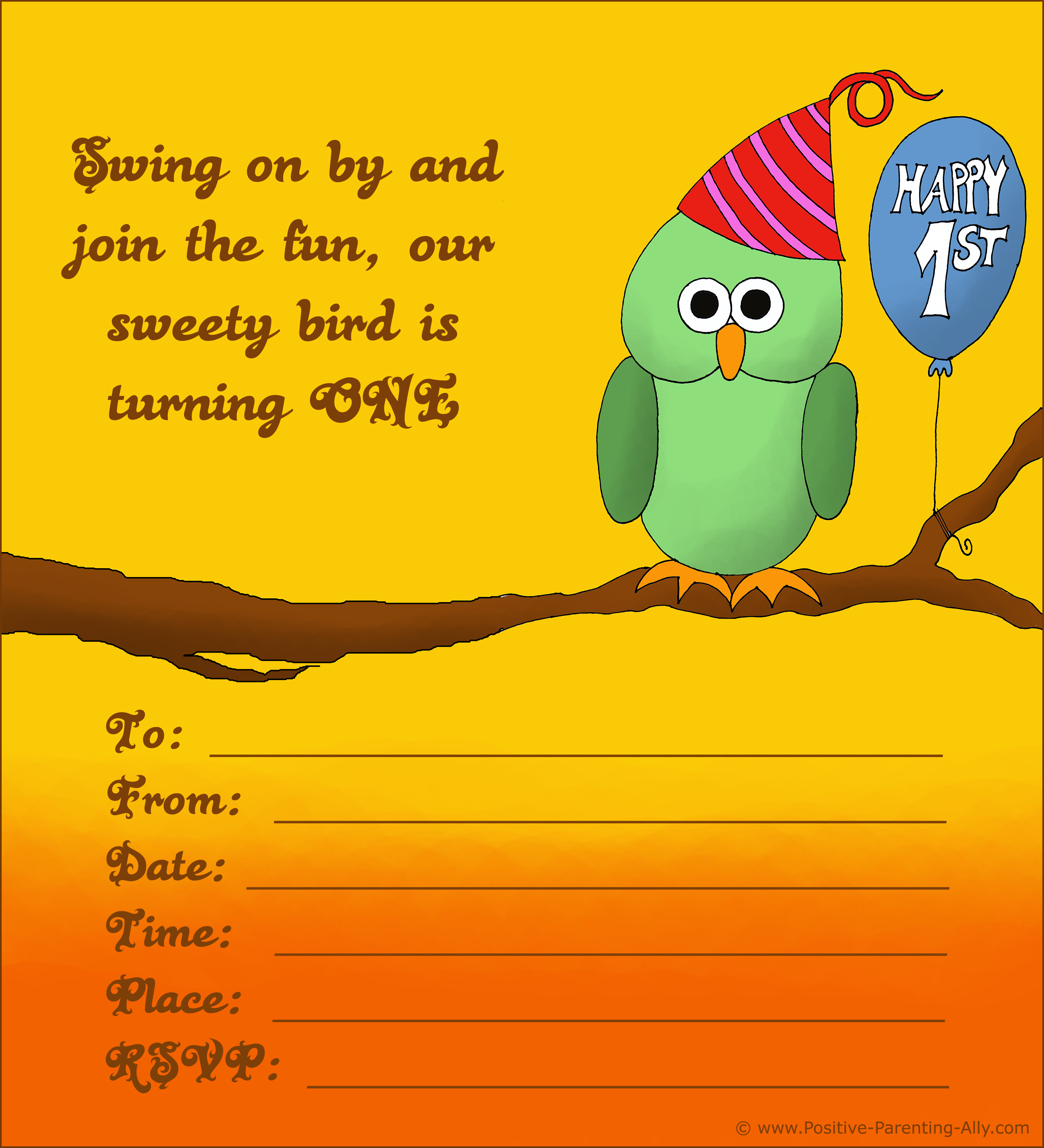 Cute owl for smart kids - free birthday invite all ready to print.