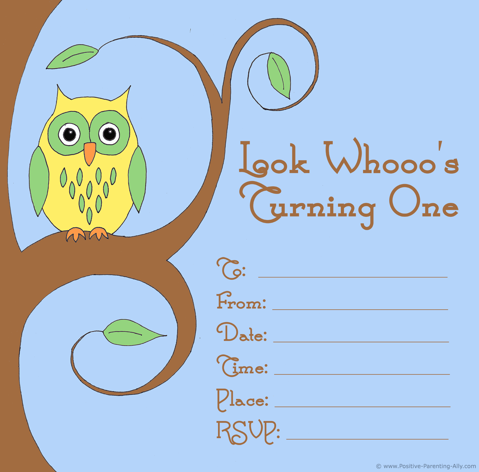 Printable and free first birthday party invitation with colorful owl retro theme.