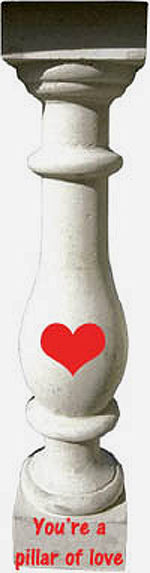 Being a pillar of love during toddlerhood: Greek white pillar with little red heart.