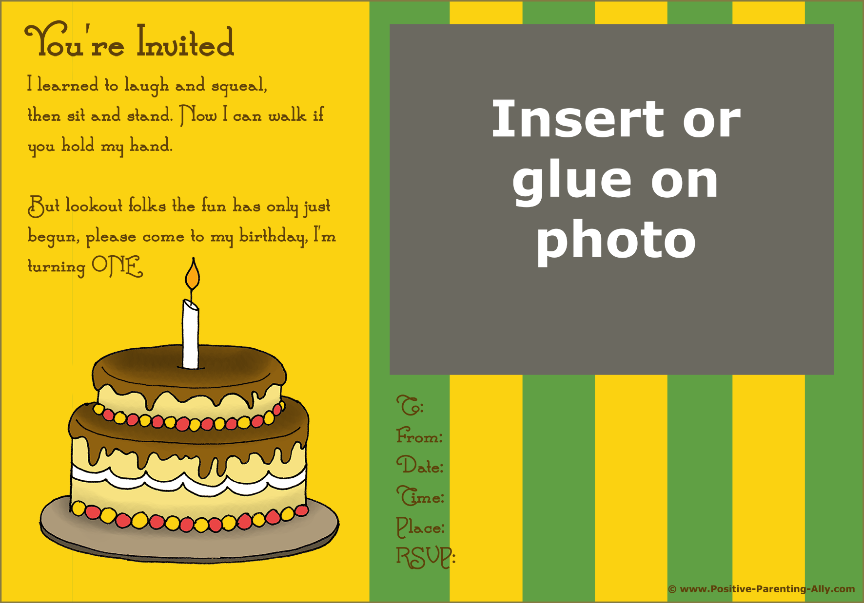 Modern retro first birthday invitation: birthday cake with one candle.
