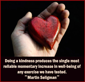 Picture quote from Martin Seligman about kindness and happiness.