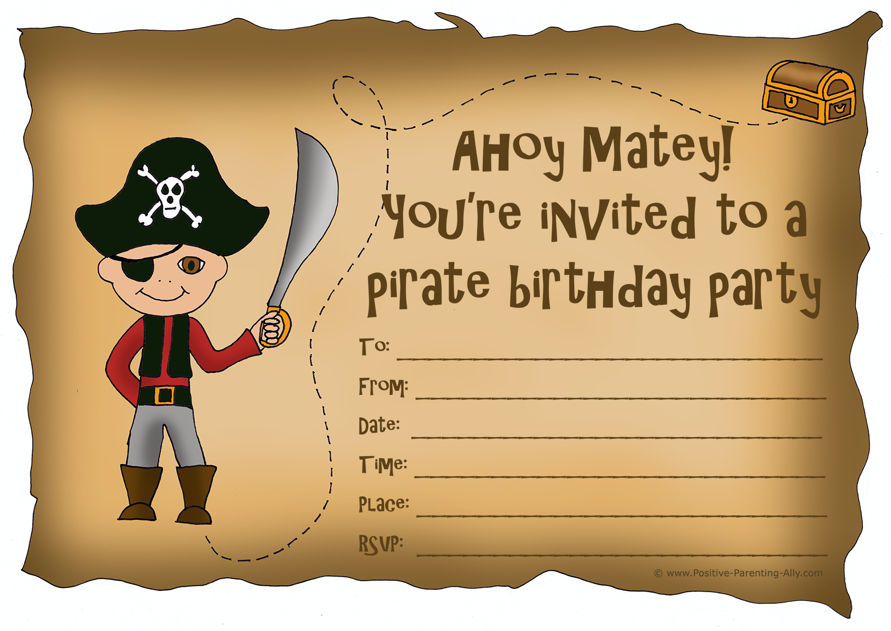 Printable pirate birthday party invites with potential treasure hunt.