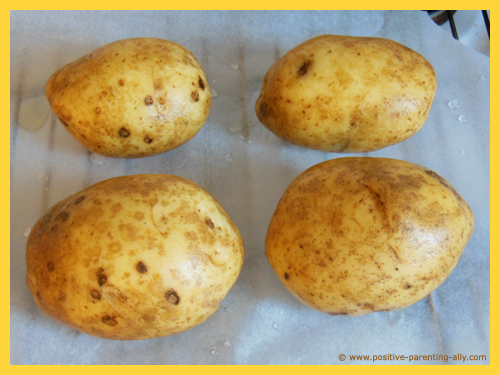 Potatoes ready to go in oven.