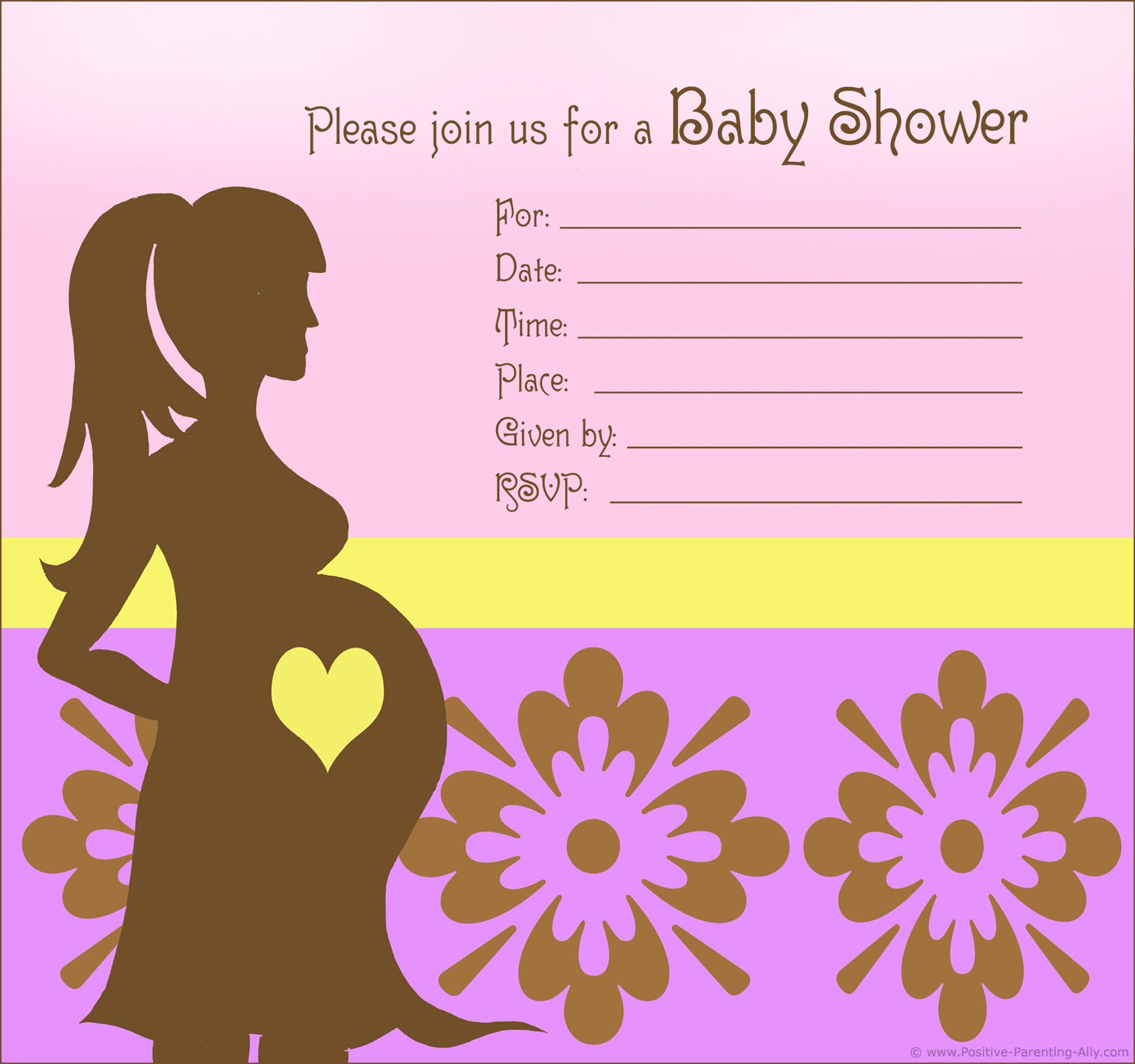 Free custom baby shower invitations in modern retro style for girls.